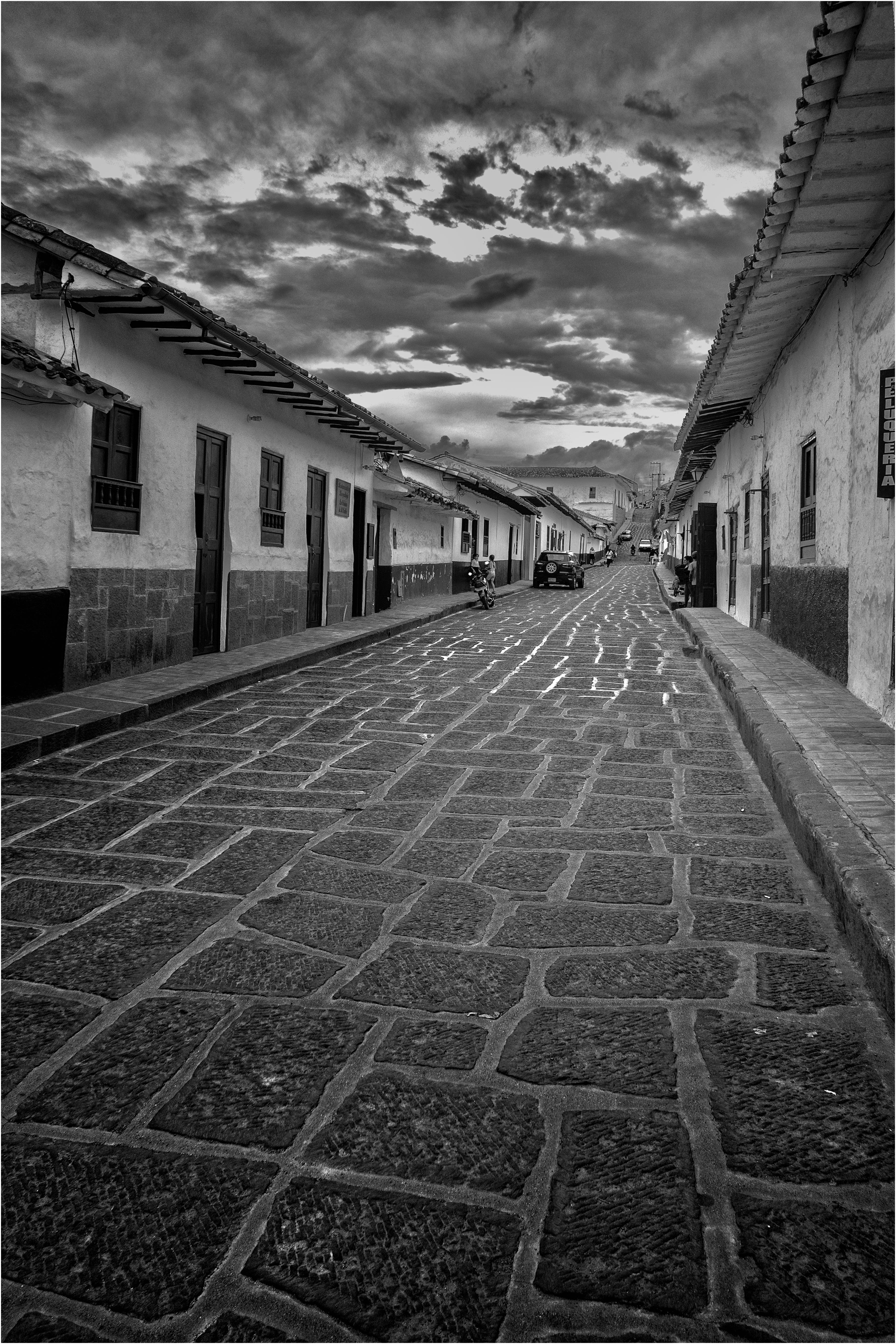 La calle baja de Barichara, Santander, Colombia. Octubre 2017