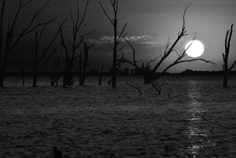 Puesta de sol en Miramar blanco y negro