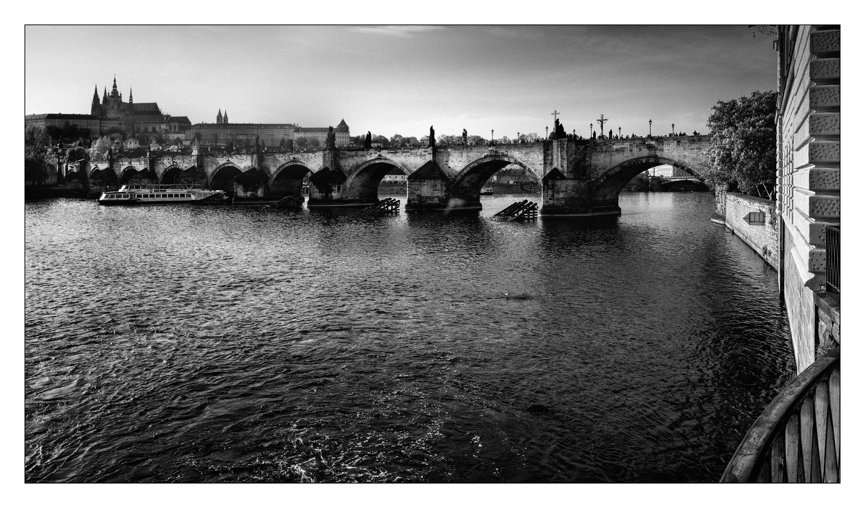 Vista Puente Carlos, Praga, República Checa. Abril 2018.